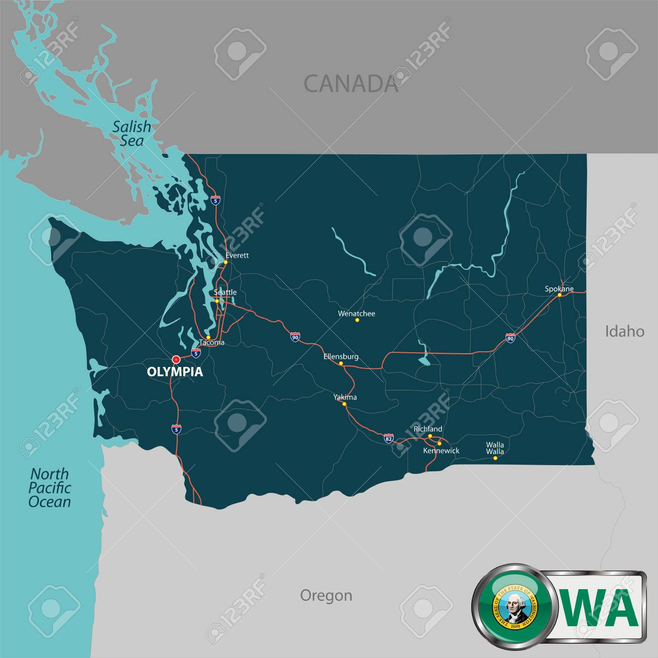 Vector Set Of Washington State With Roads Map Cities And