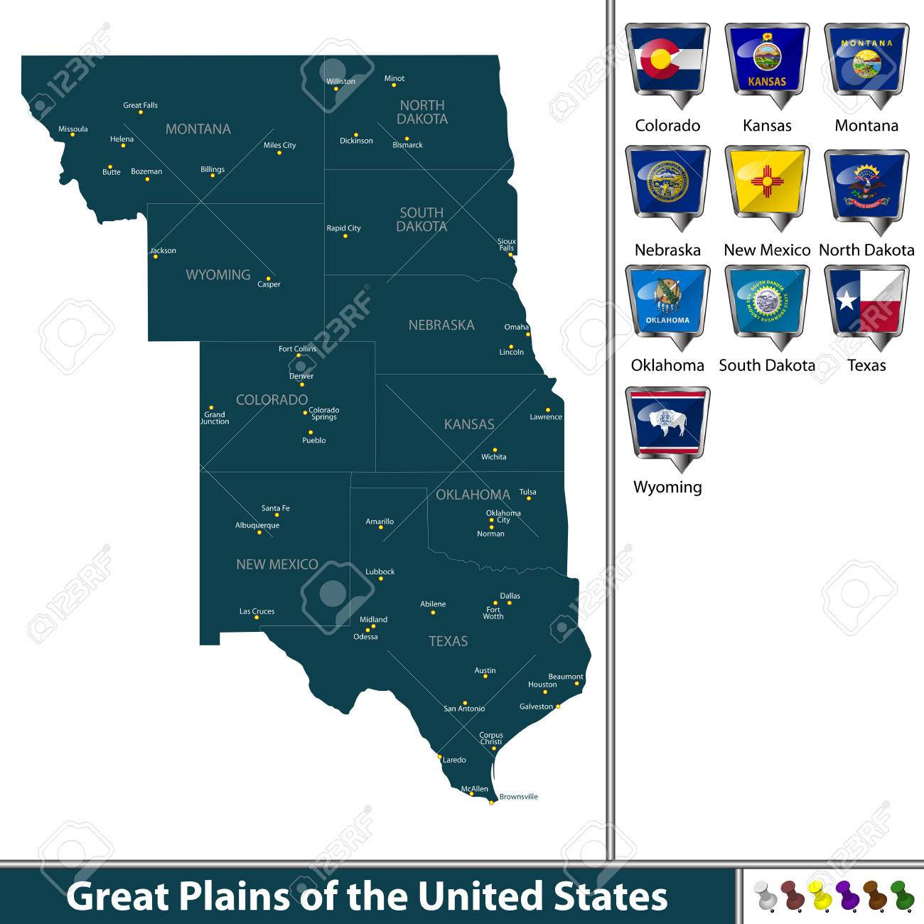 Set Of Great Plains Of The United States With Flags And Map Royalty - Us-map-great-plains