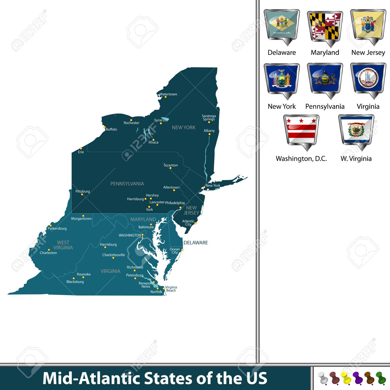 Mid Atlantic States Map.Set Of Mid Atlantic States Of The United States With Flags And