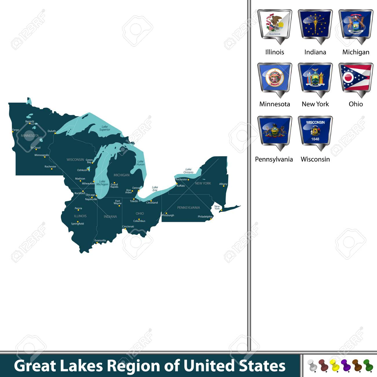 A Vector set of Great Lakes region of United States with flags..