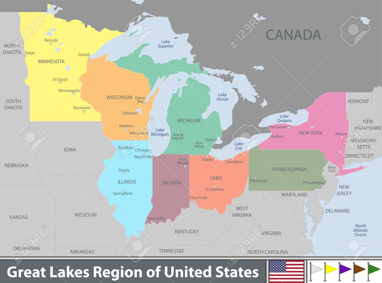 map of the united states including the great lakes Vector Set Of Great Lakes Region Of United States With Neighboring