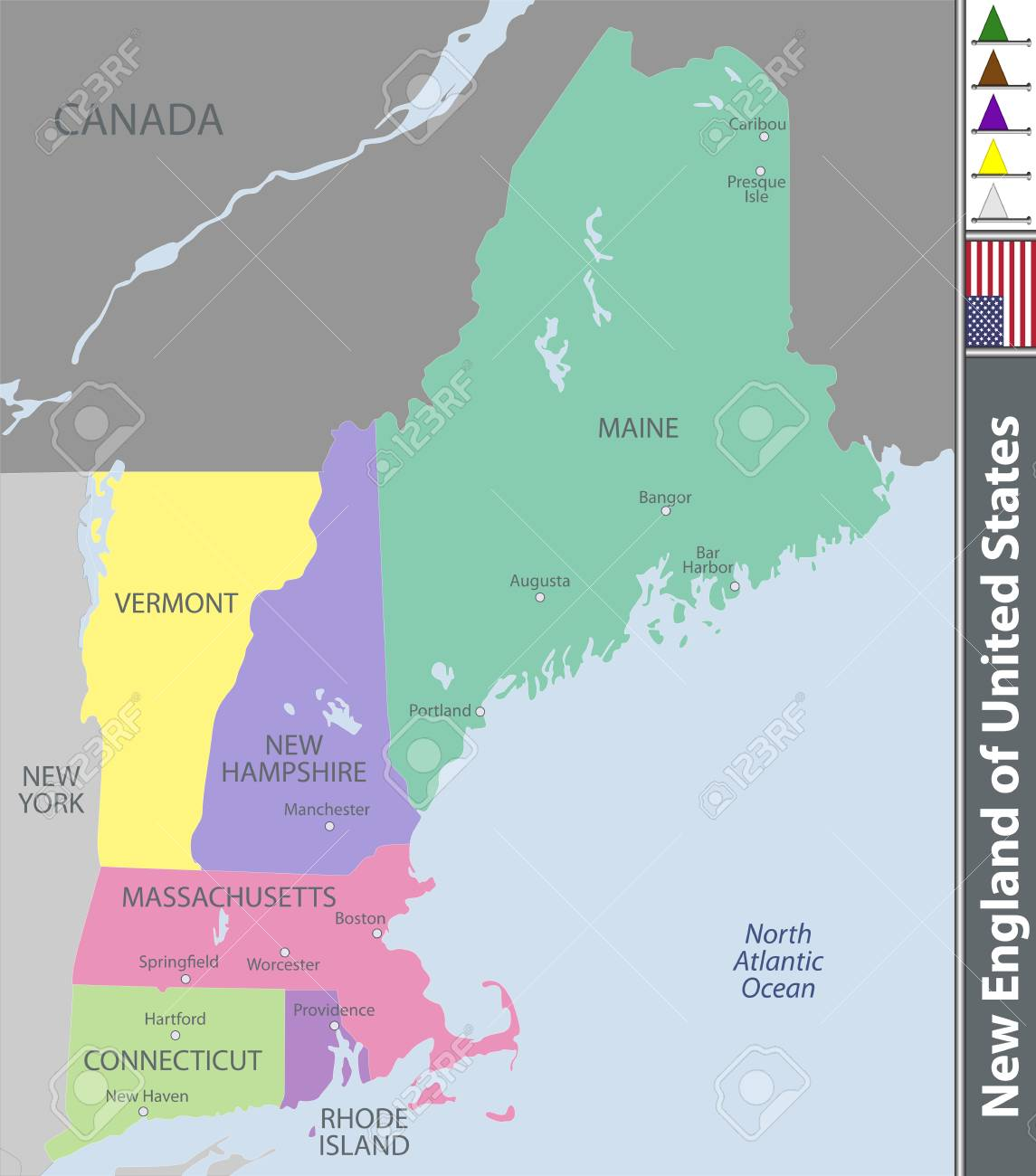 Vector set of New England of United States with neighboring states