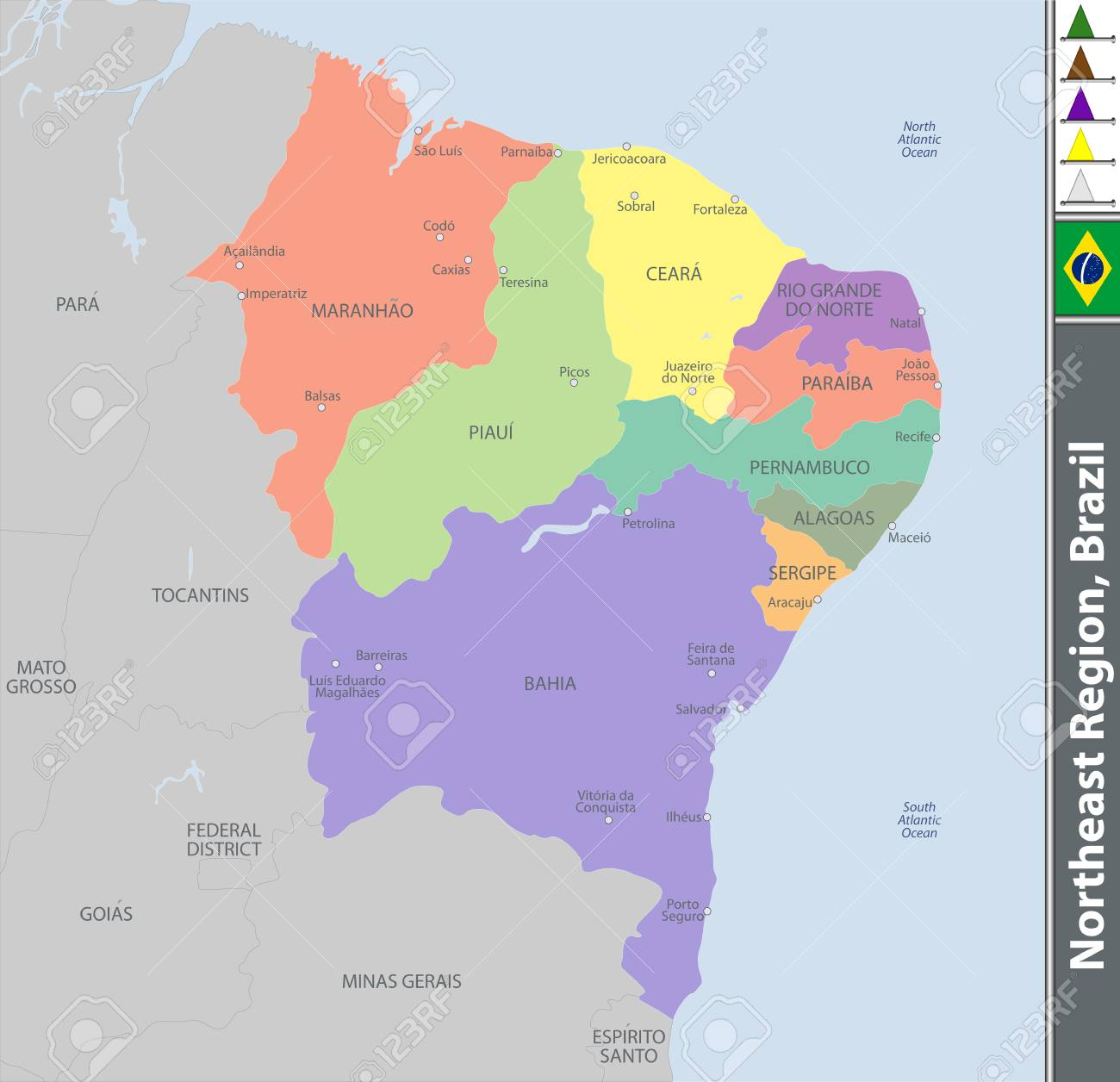 Vector set of Northeast Region of Brazil with map and neighboring..