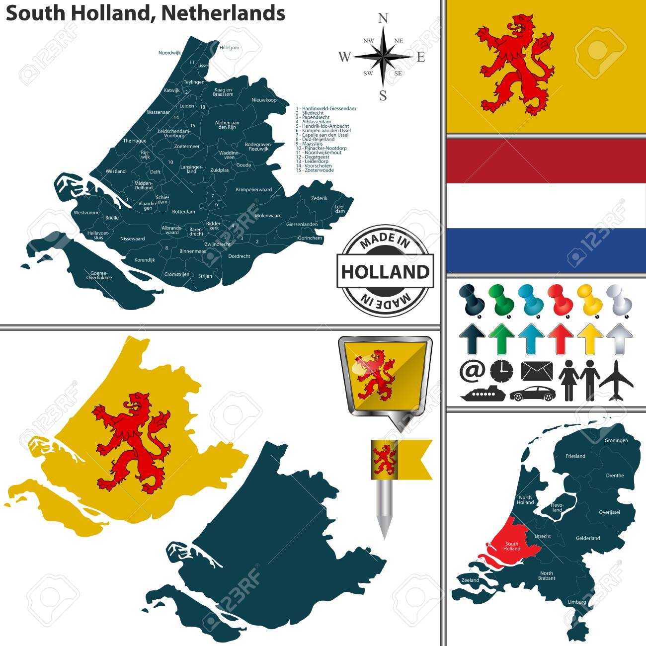 Vector Map Of South Holland Region And Location On Dutch Map Royalty ...