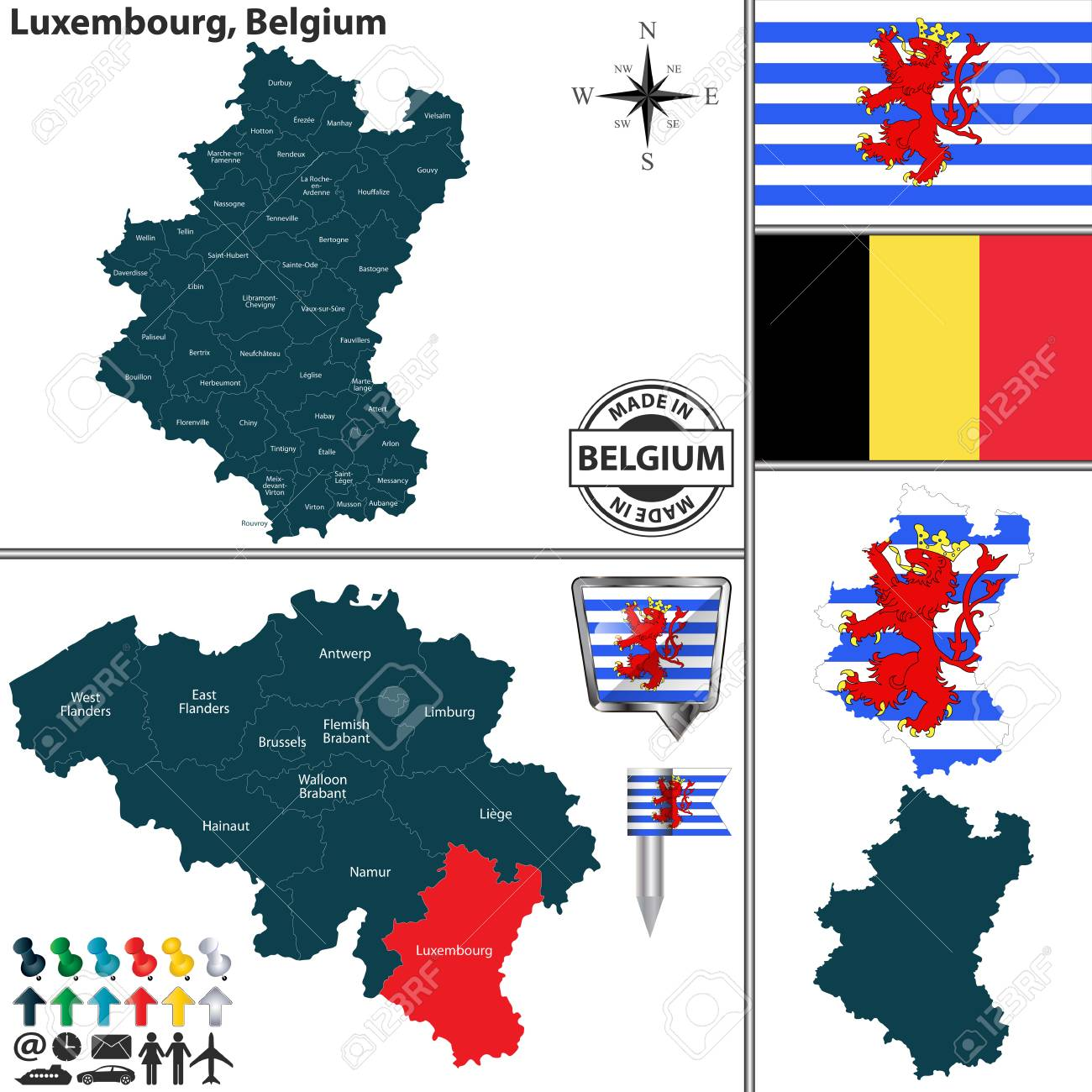 Vector map of Luxembourg region and location on Belgian map