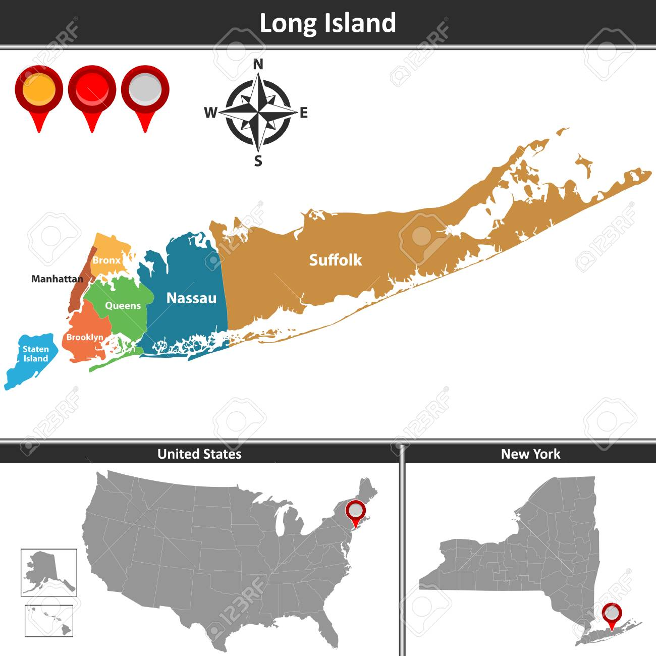 Vector Map Of Long Island A Region Within The Us State Of New - Long-island-on-us-map