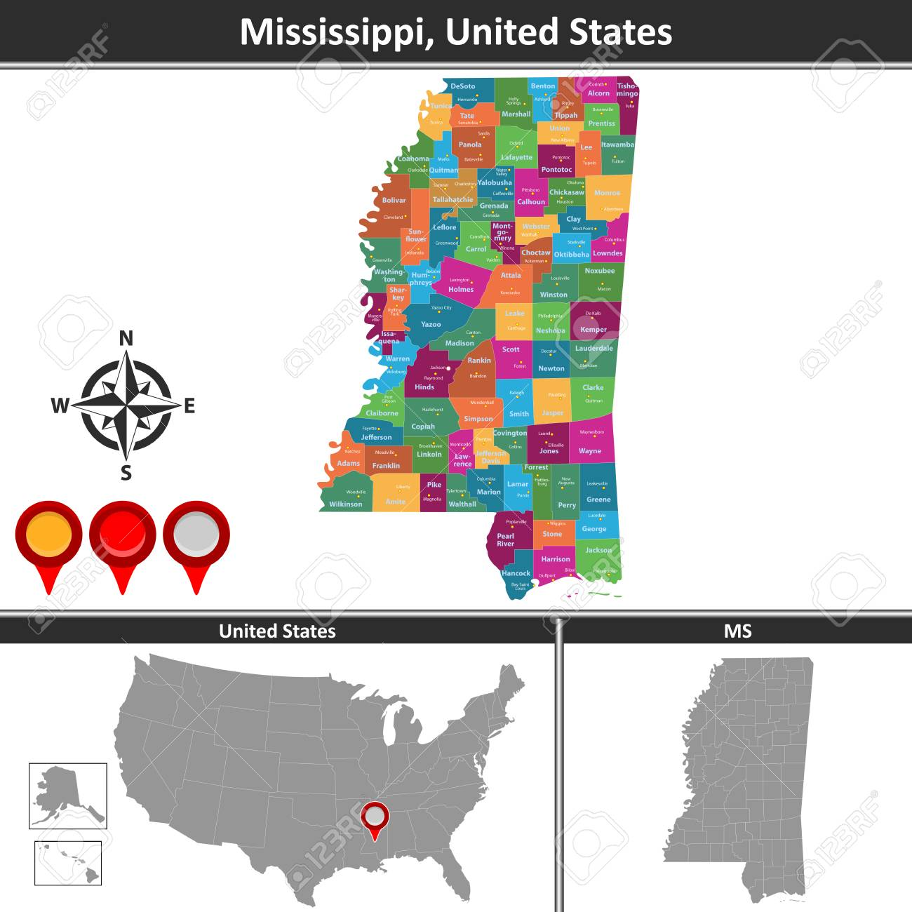 Vector Map Of Mississippi With Counties And Location On US Map ...