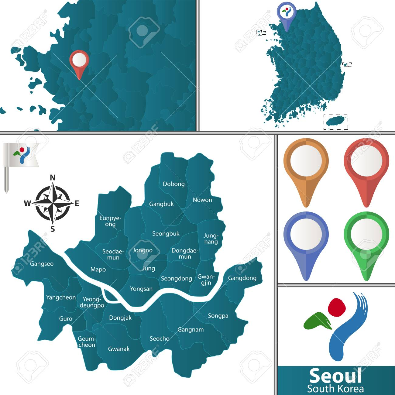 Image of: Vector Map Of Seoul With Named Districts Pins Icons And Locations Royalty Free Cliparts Vectors And Stock Illustration Image 118761450