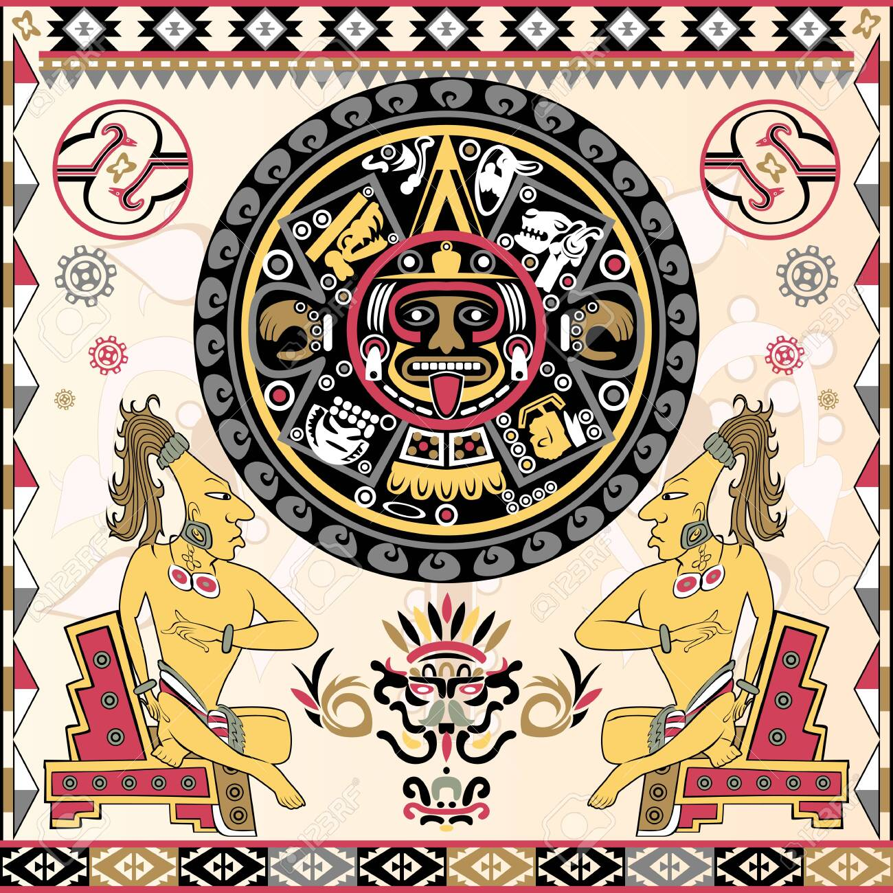 Vector of set of ancient American ornaments with Aztec calendar in a center - 124419804