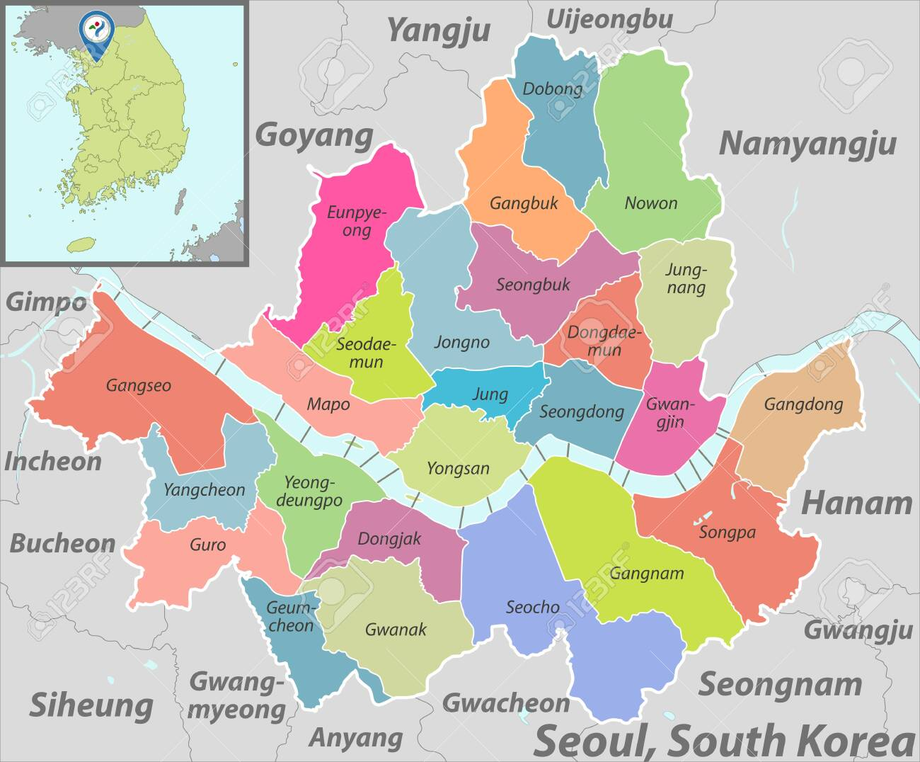 Picture of: Vector Map Of Seoul In South Korea With Neighbouring Districts Royalty Free Cliparts Vectors And Stock Illustration Image 140828321
