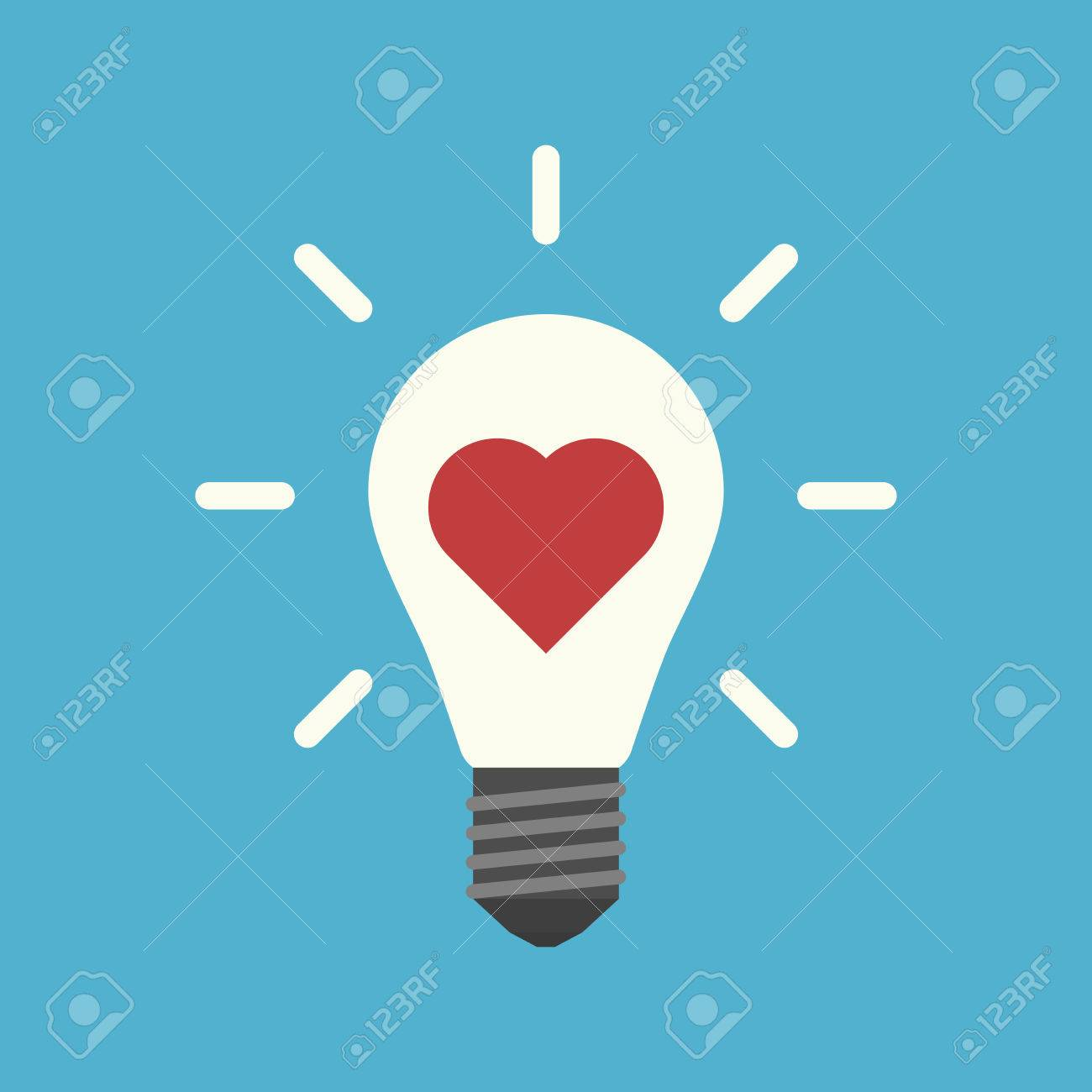 Red Heart Inside Light Bulb With Rays On Blue Background ...