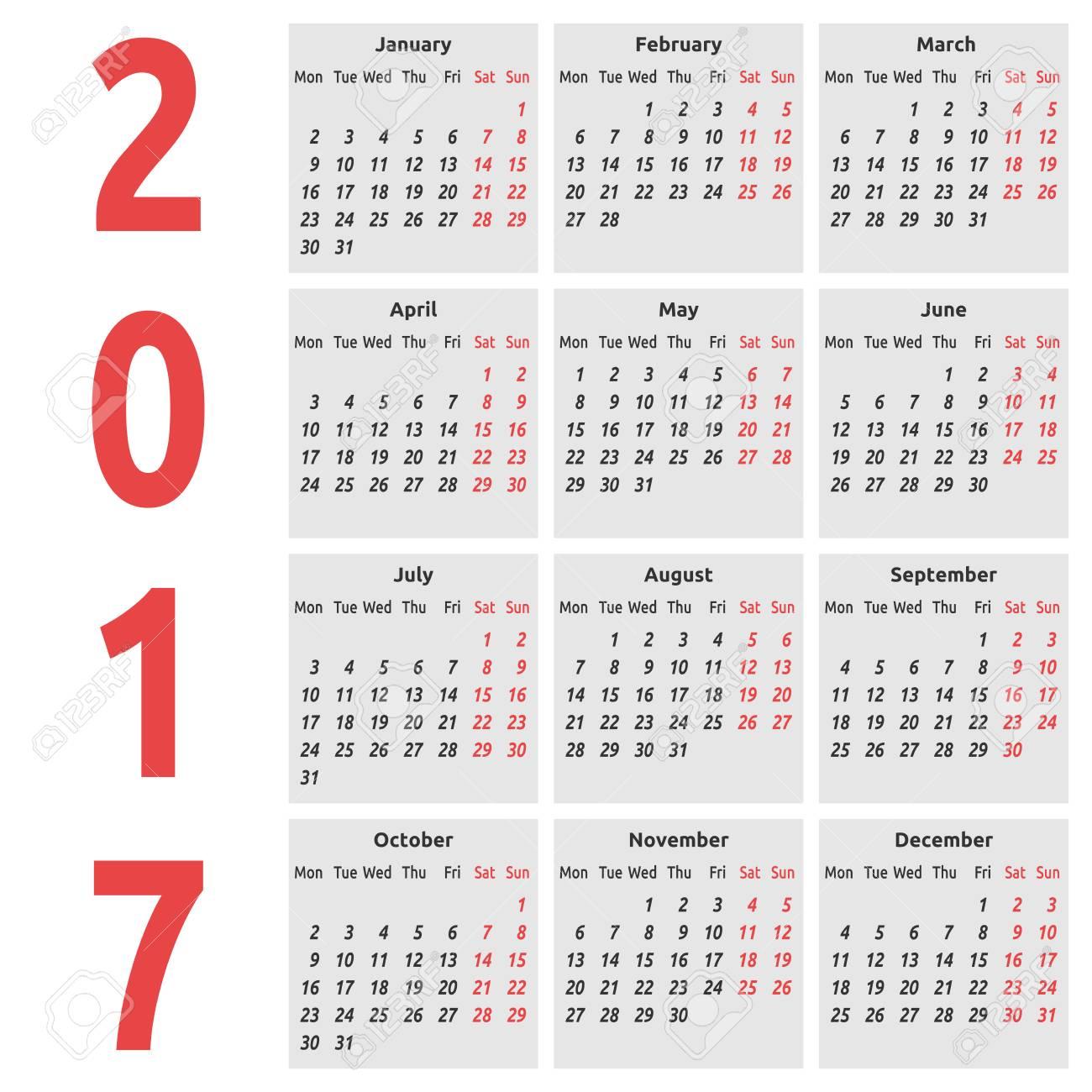 Calendario Internazionale.Calendario Internazionale Semplice Per L Anno 2017 Settimana Inizia Lunedi Illustrazione Vettoriale Eps 8 Nessuna Trasparenza
