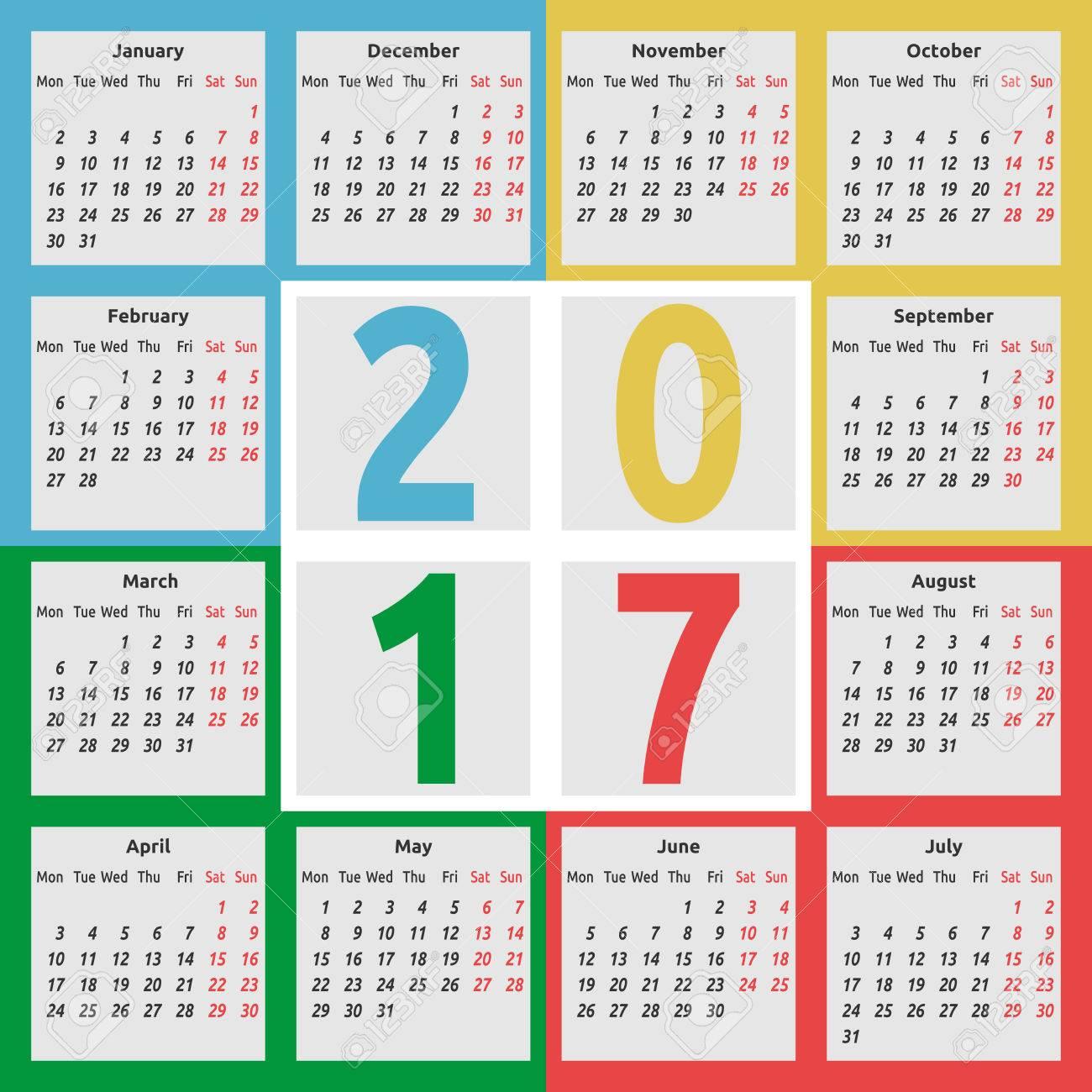 Calendario Anno 2017.Calendario Per L Anno 2017 Con Le Stagioni Sulla Priorita Bassa Di Colore La Settimana Inizia Il Lunedi Design Piatto Illustrazione Vettoriale Eps