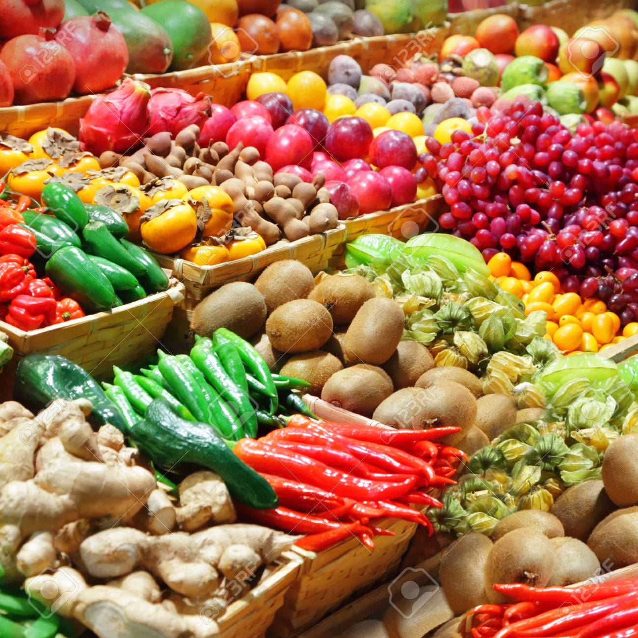 Fruits and vegetables at a farmer - 32964314