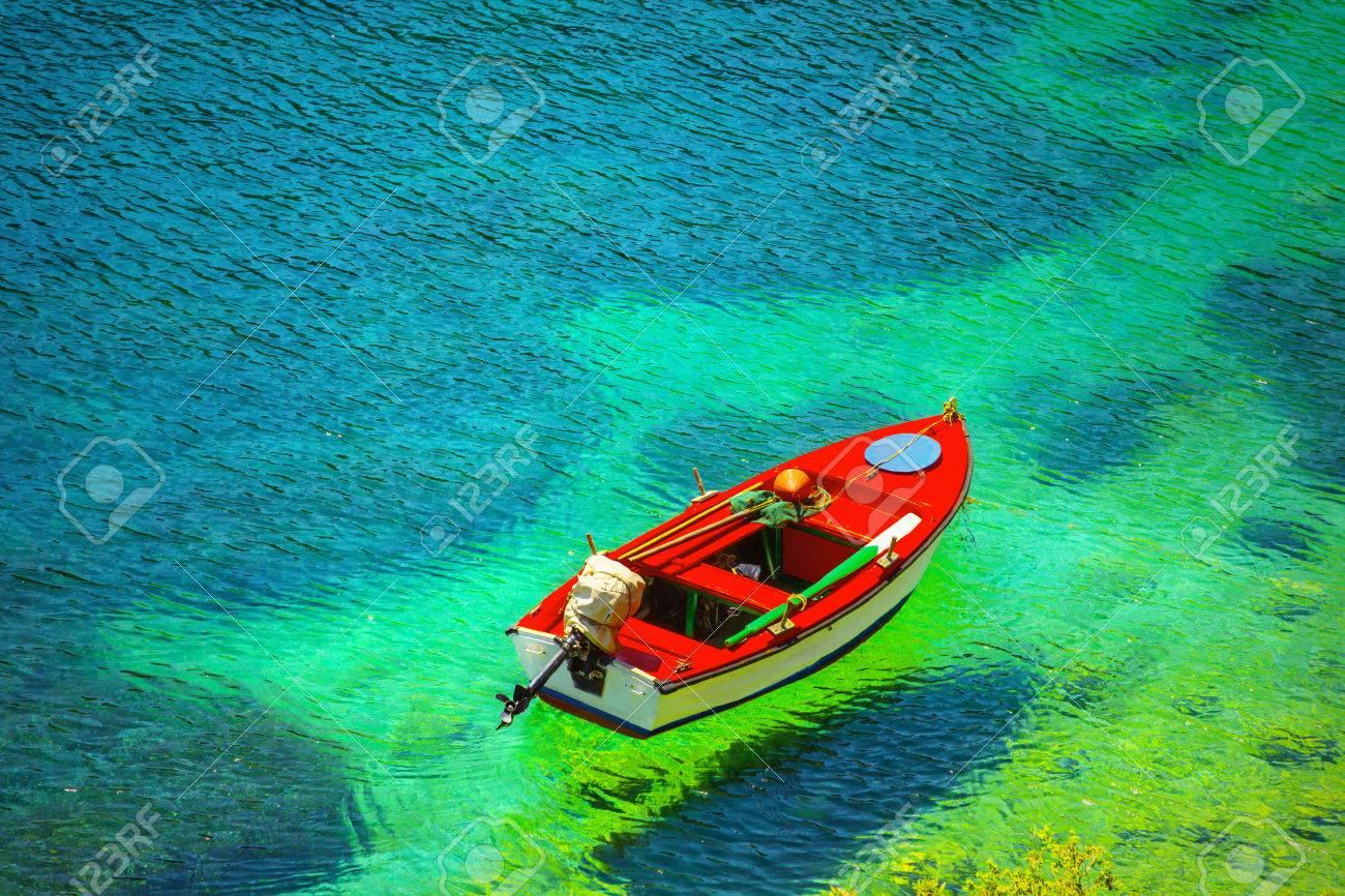 Fishing boat in Kefalonia island, Greece - 44518196