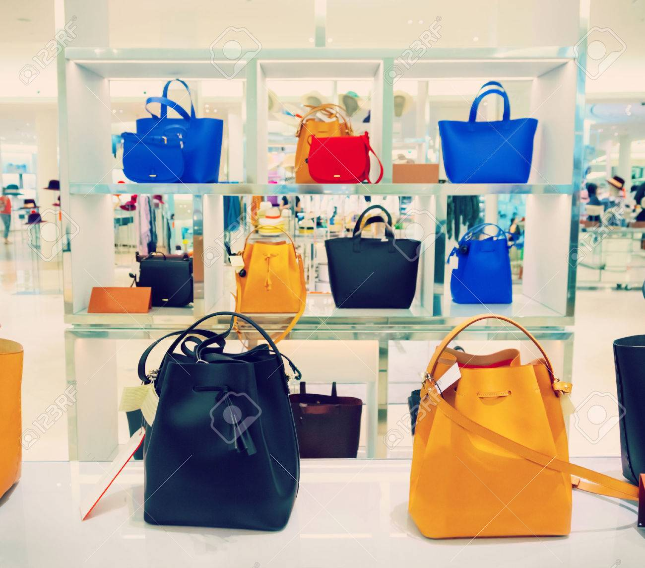 Shop window with bags and shoes - 49104109