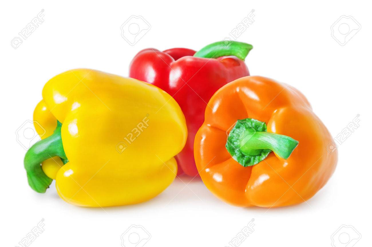 Bell peppers isolated on white - 60682398