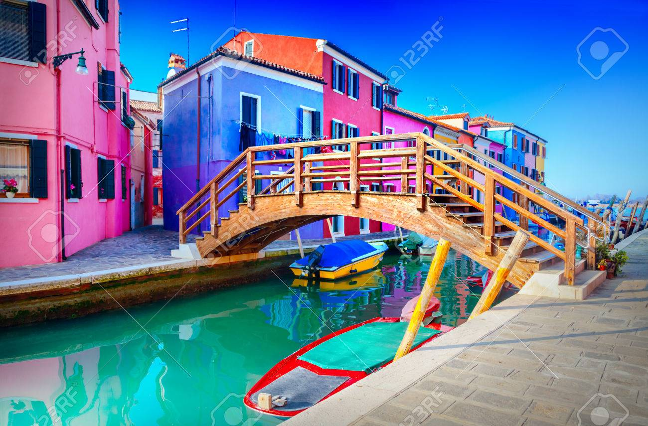 Colorful houses in Burano, Venice, Italy - 63676348