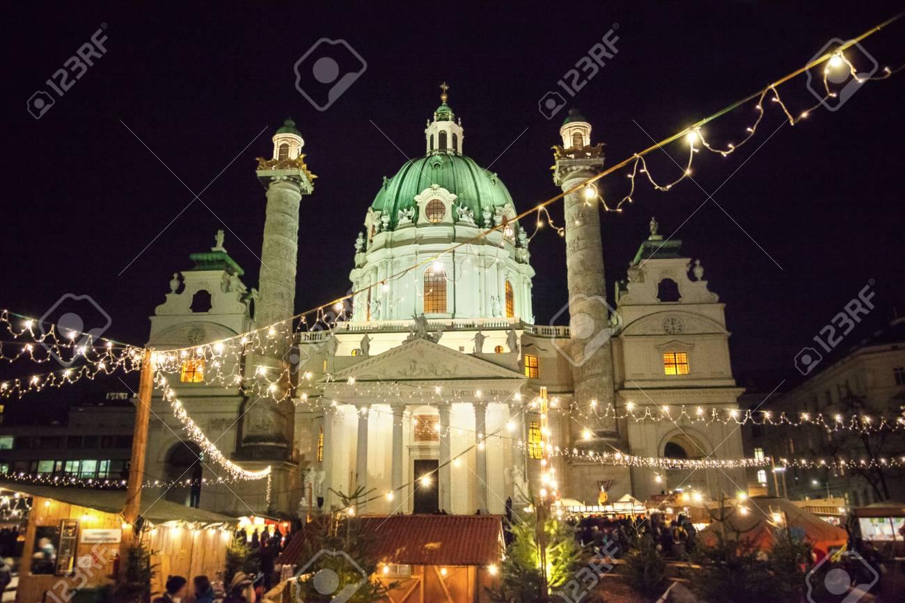 Karlsplatz Christmas market in Vienna, Austria - 89615475