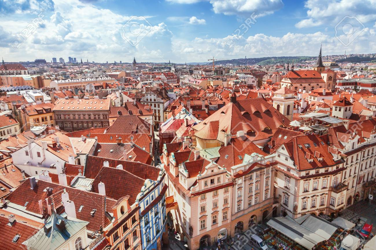 Red roofs in Prague - 90366583