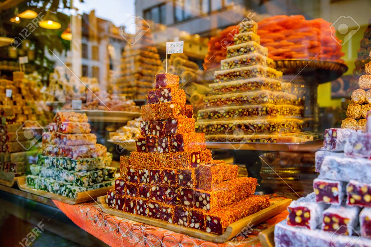 Oriental sweets at the market - 96529237