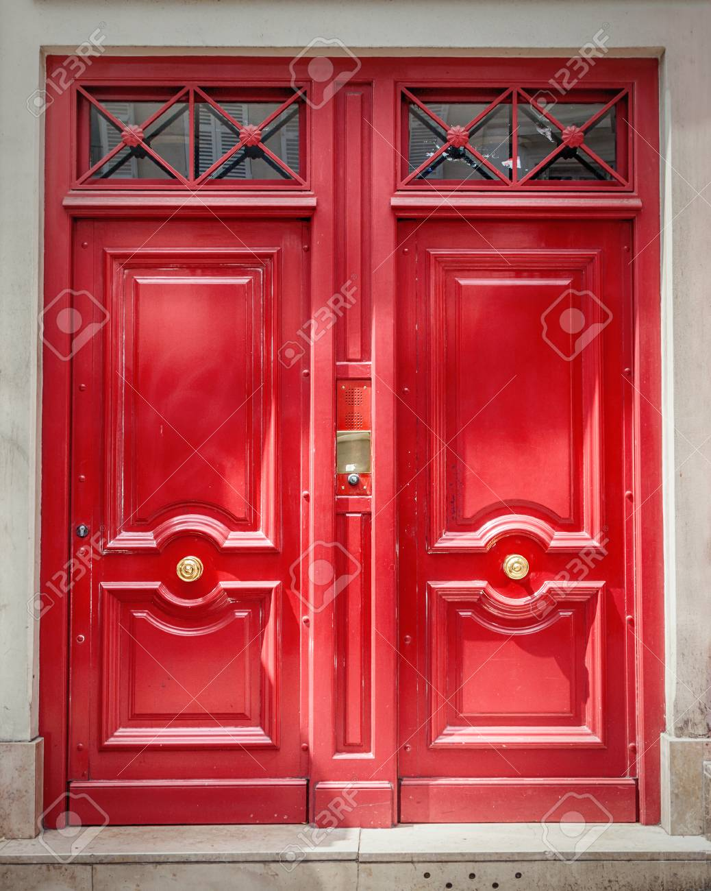 A traditional French wooden entrance door - 122364377