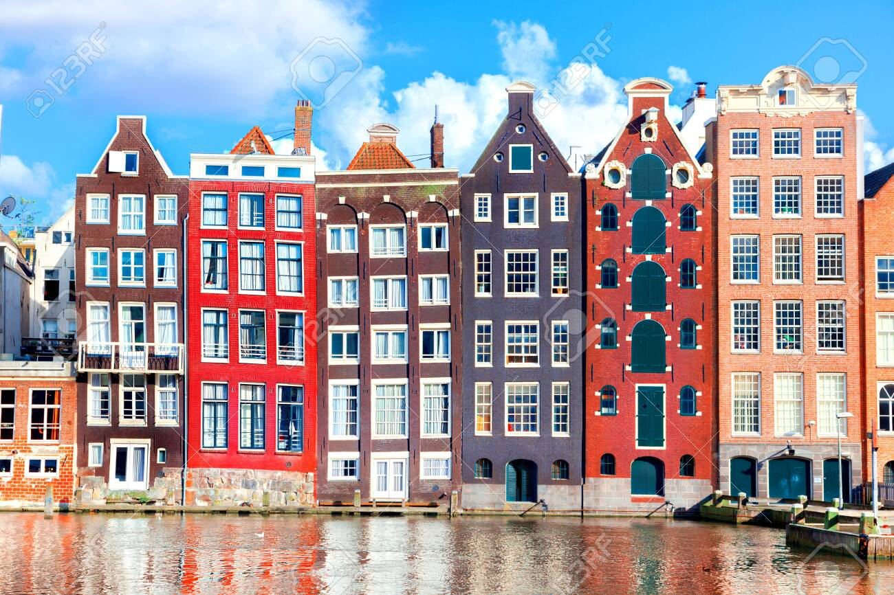 Typical dutch houses in Amsterdam, Netherlands - 153620238