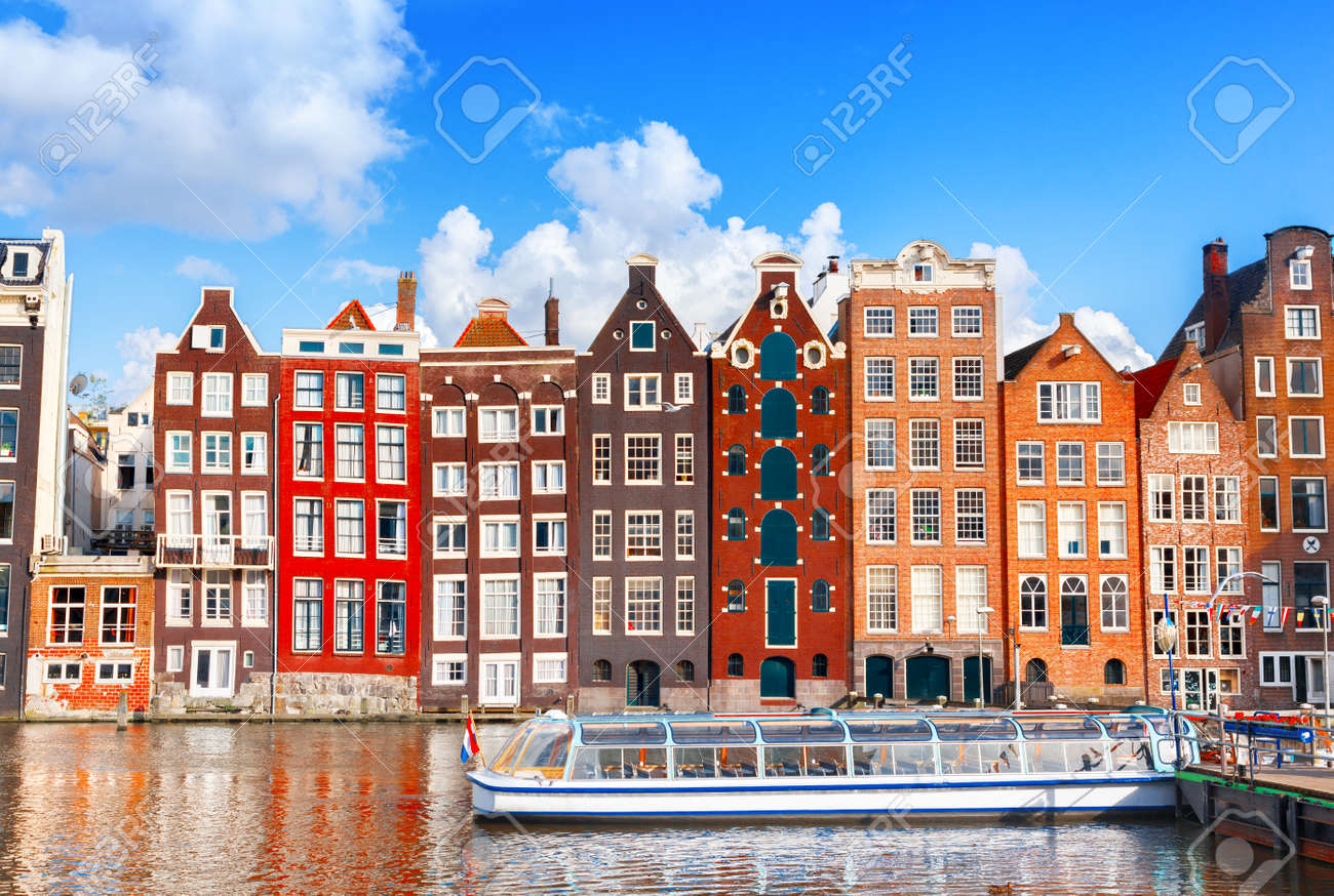 Typical dutch houses in Amsterdam, Netherlands - 168912026