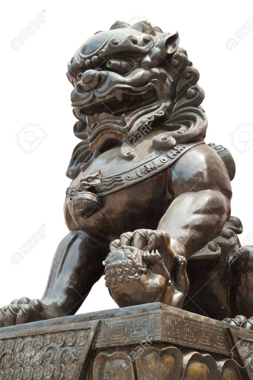 Chinese dragon statue sculpture isolate on white background Stock Photo - 9150011