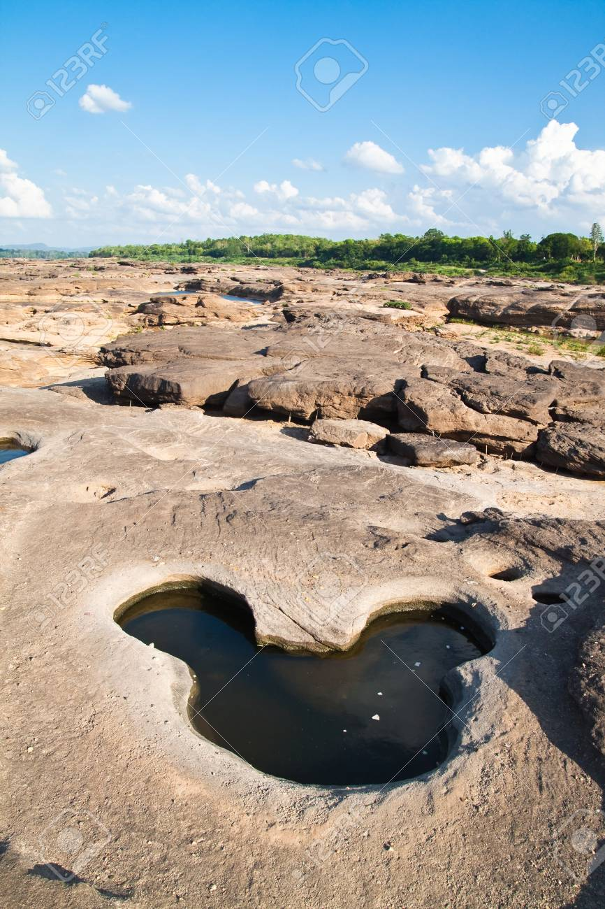 The Amazing of Rock,Natural of Rock Canyon in Khong River after the water come down in Summer,Three Thousand Hole,Ubonratchathanee Province,North East of Thailand Stock Photo - 9591256