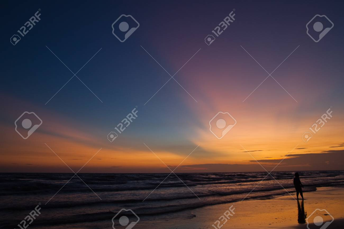 Beach after sunset ,North East of Thailand Stock Photo - 10203699