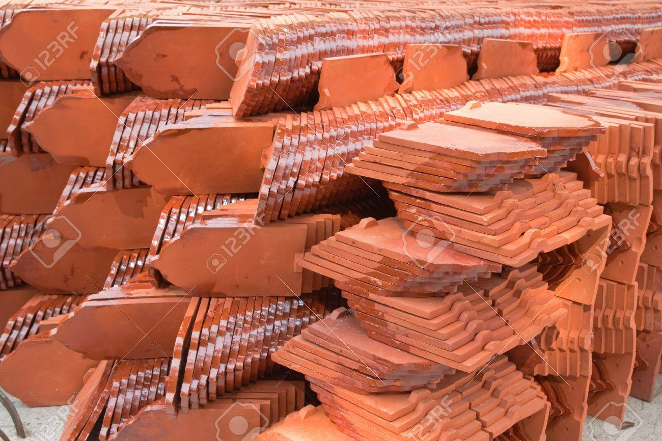 Stack Of Ceramic Roof Tiles Stock Photo   10431062