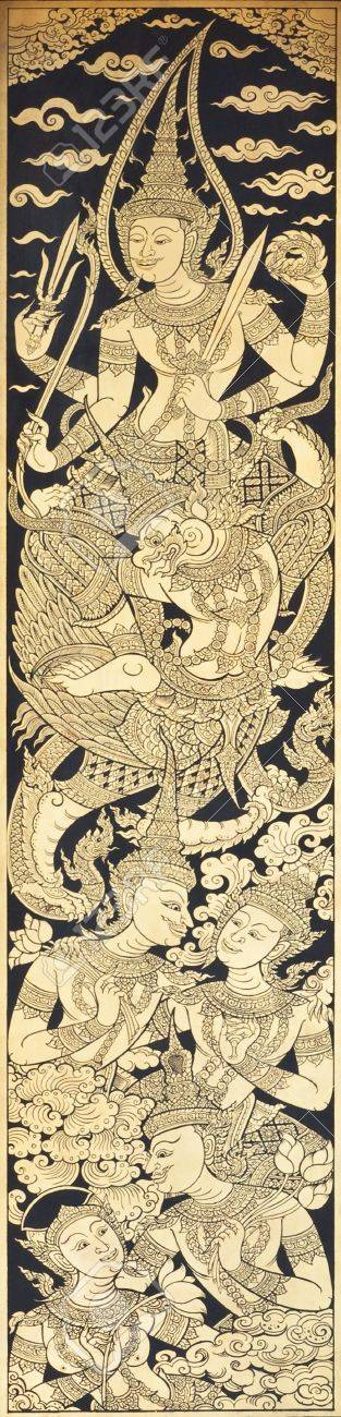 Old Thai style painting art in thai temple,Thailand. Generality in Thailand, any kind of art decorated in Buddhist church etc. created with money donated by people, no restrict in copy or use. Stock Photo - 10893798