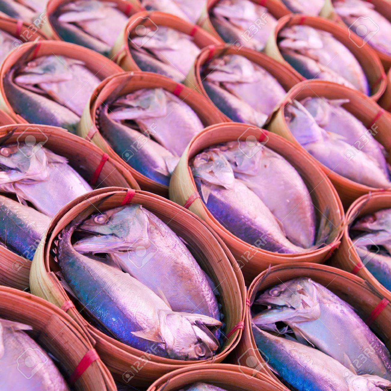 Mackerel fish in bamboo basket at market,Samutsongkram province-Thailand Stock Photo - 17267312