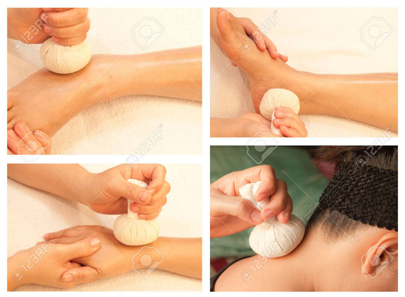 Collection of reflexology massage, spa treatment by ball herbal Stock Photo - 26420370