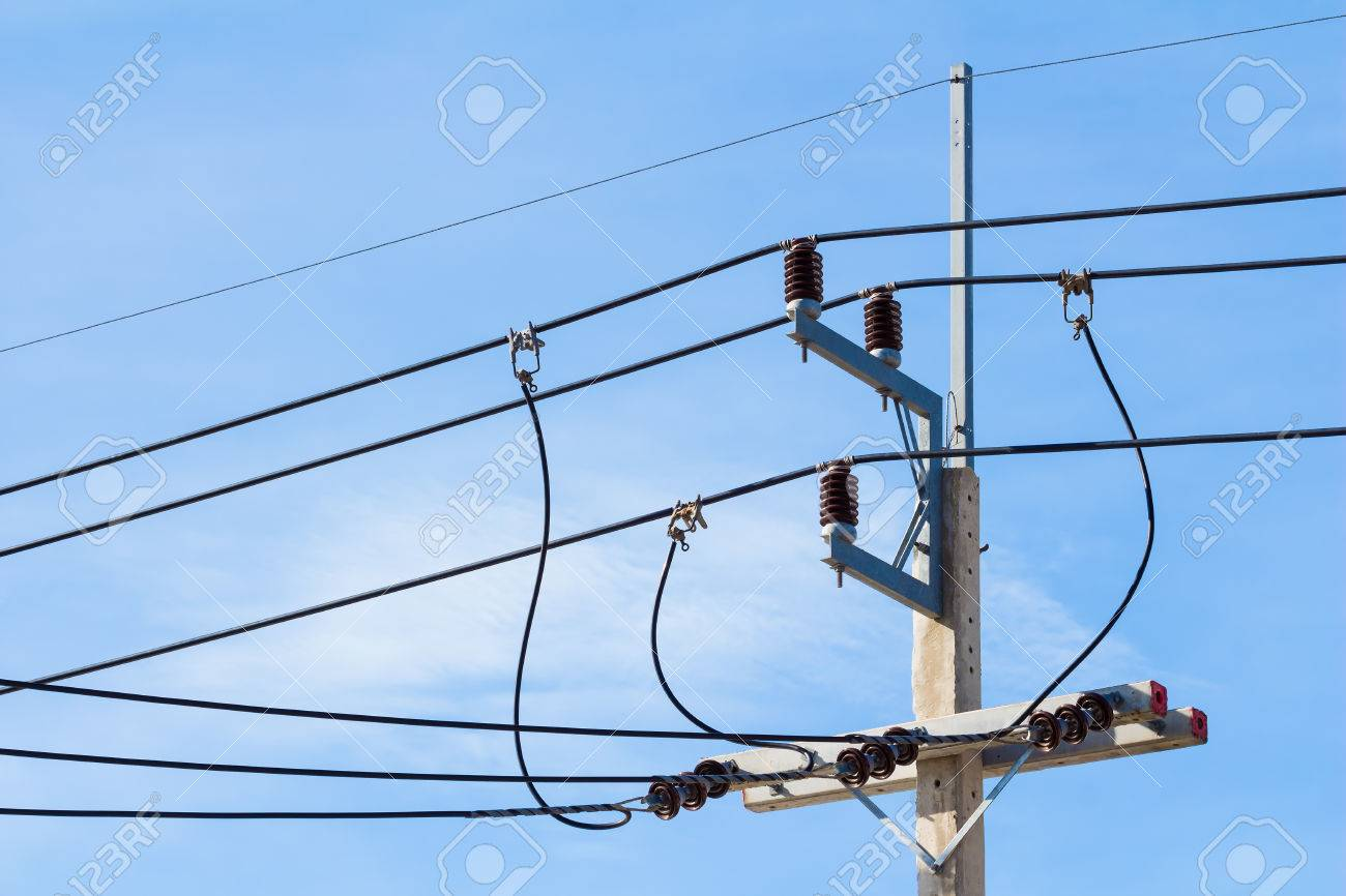 Electricity Post Cable Or Wire On Blue Sky Background Stock Photo ...