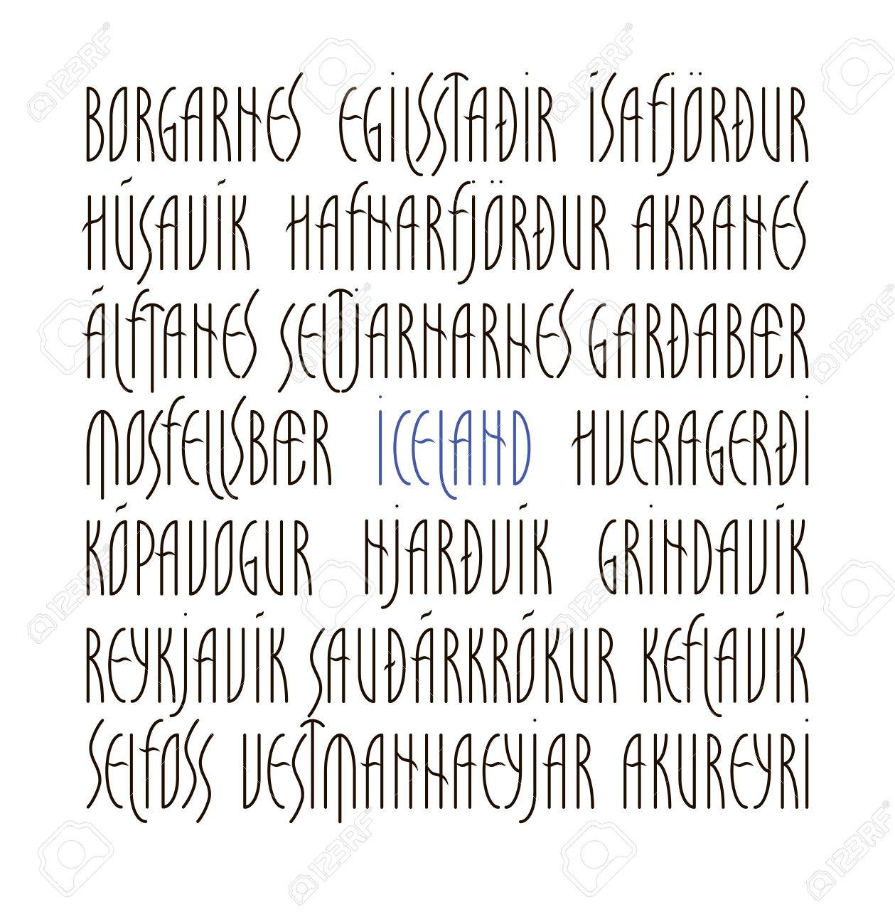 Lettering Set Names Of Iceland And Its Main Cities Administrative Royalty Free Cliparts Vectors And Stock Illustration Image 68408449