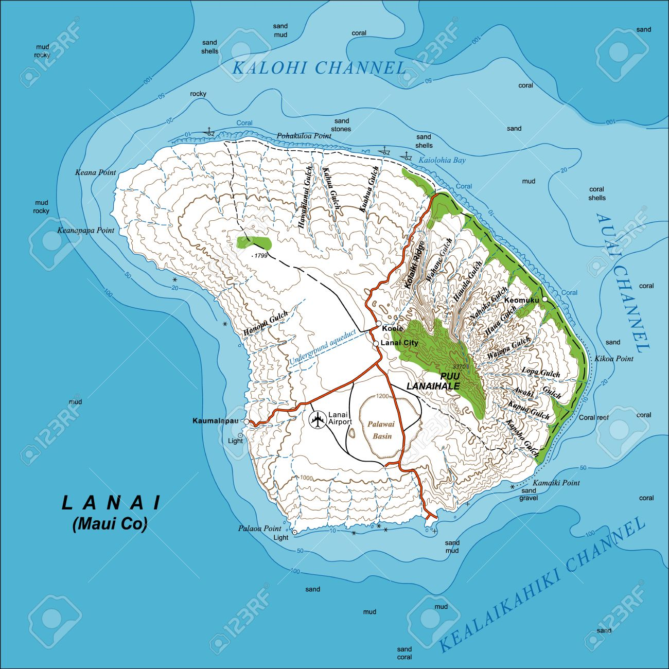 Detailed Large Scale Topographic Map Of Lanai Island Hawaii