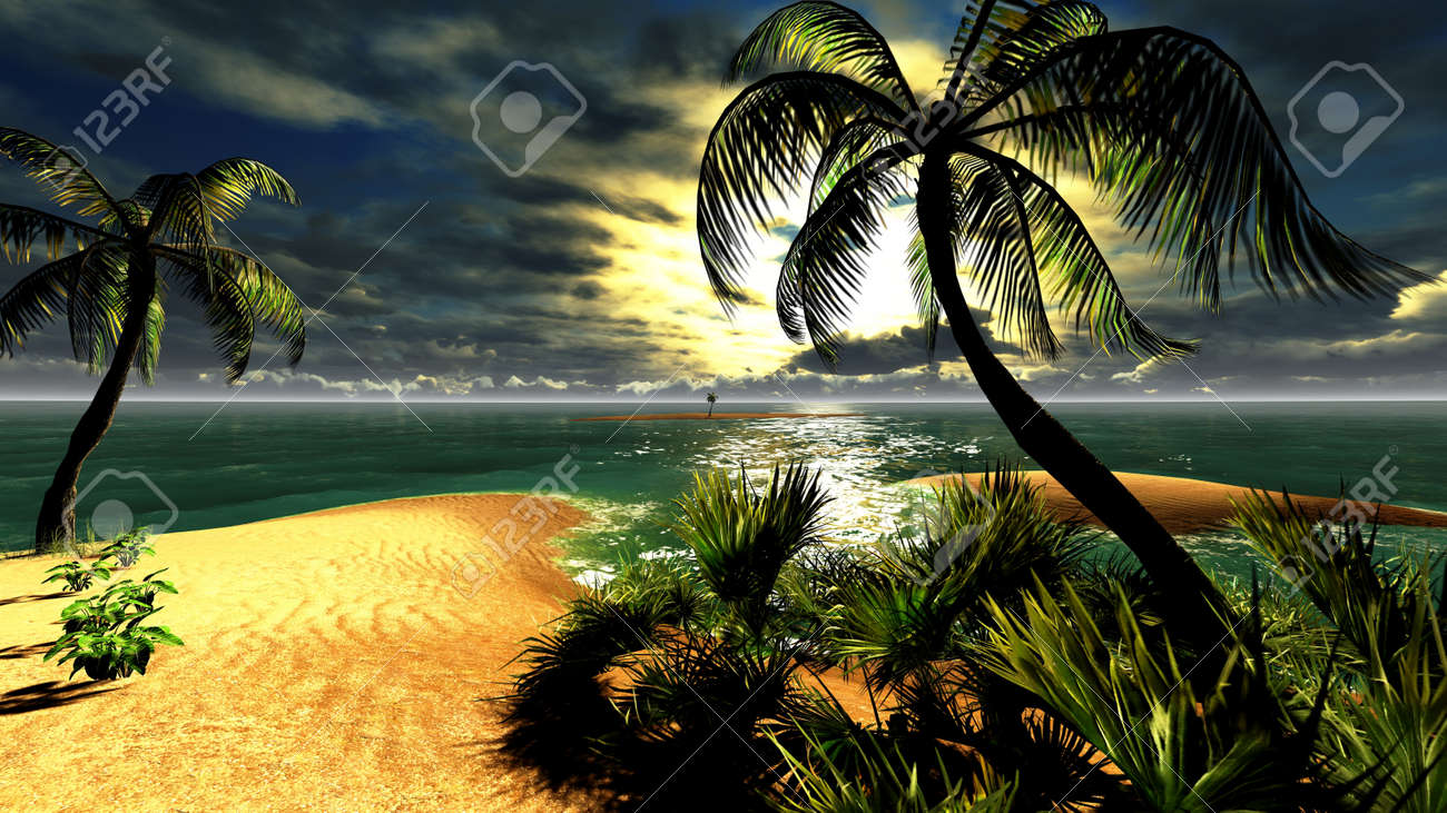 Hawaiian sunset in tropical paradise - 14711407
