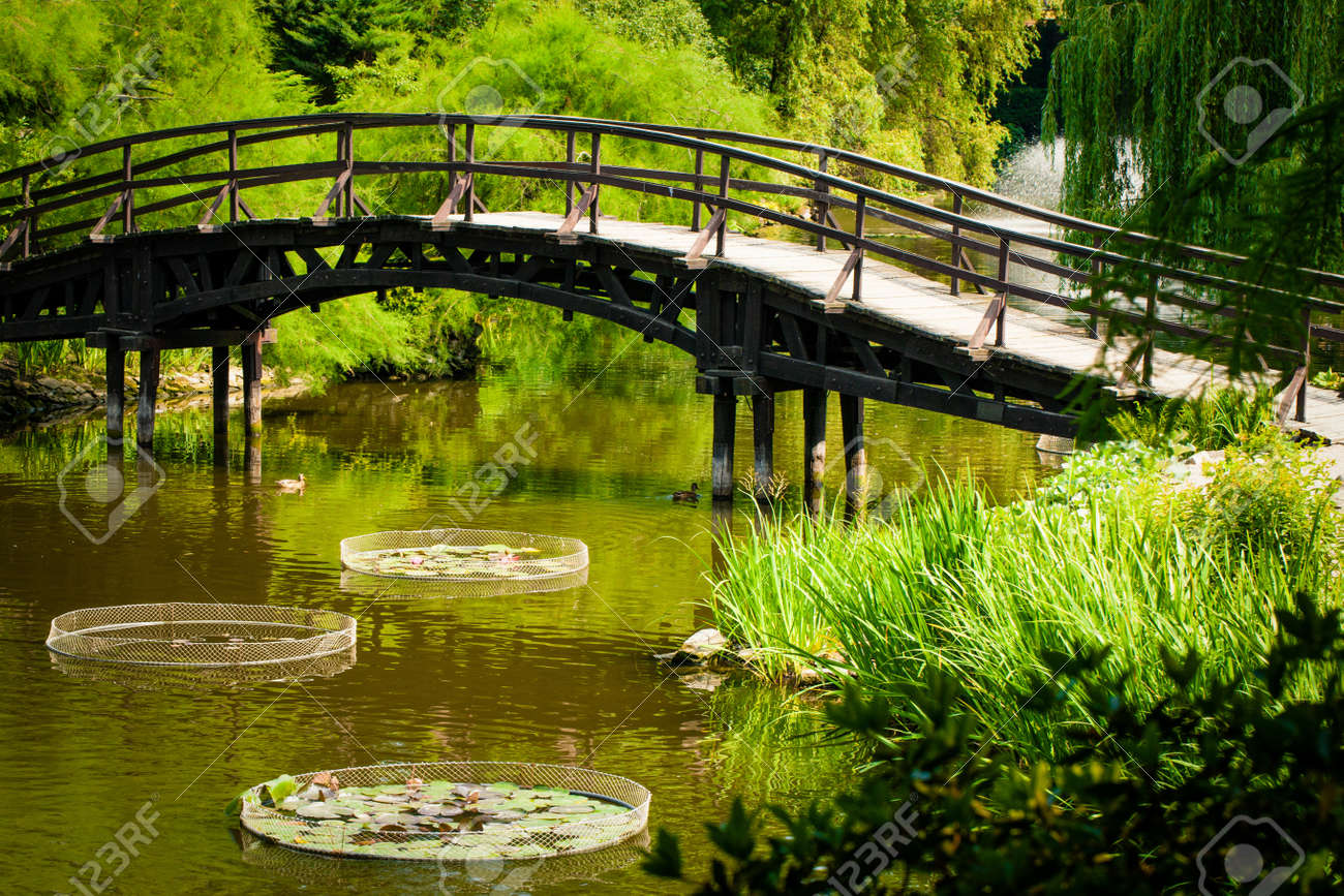 japanese garden bridge stock photo picture and royalty free image