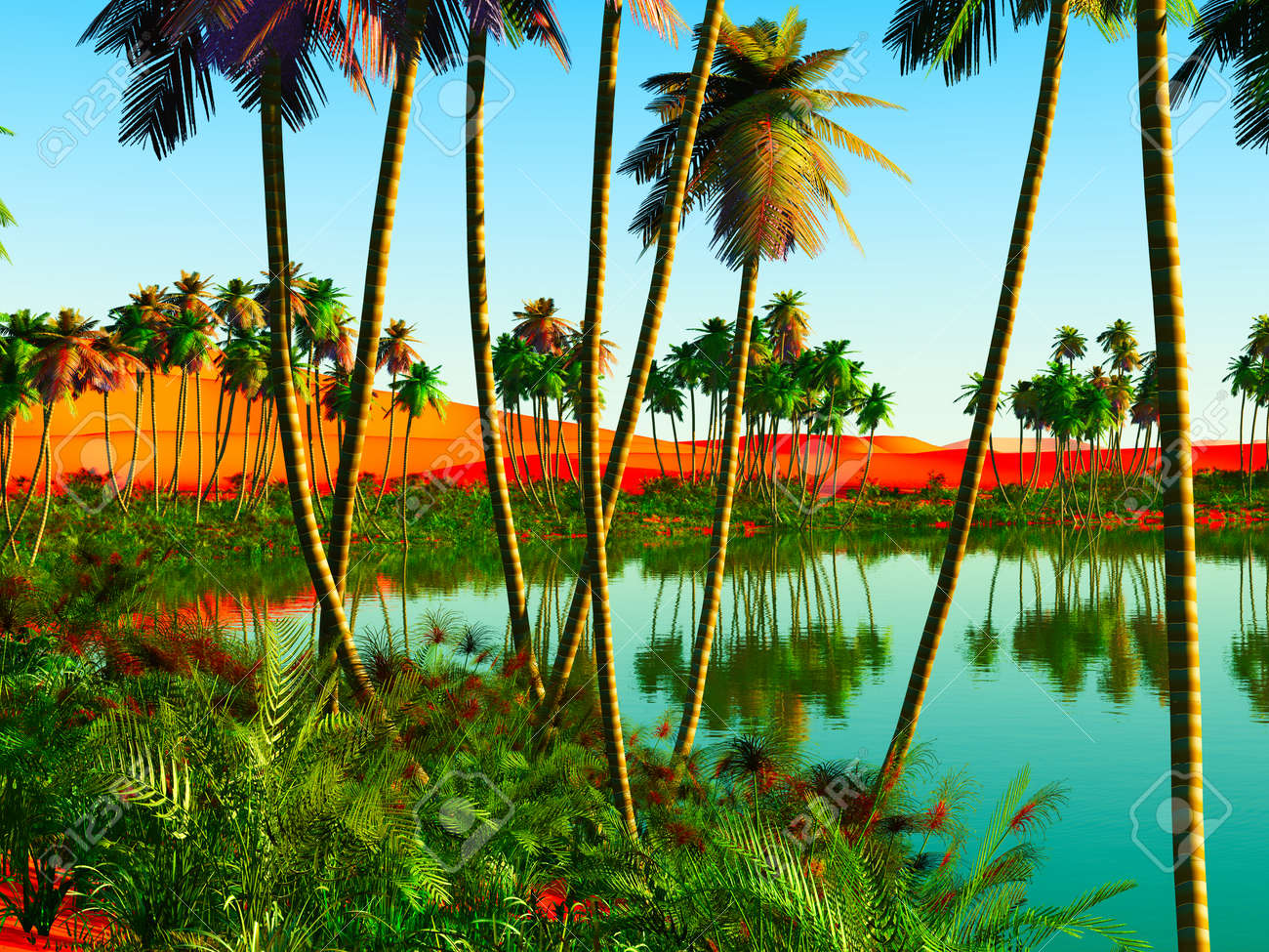 Beautiful Natural Background African Oasis Stock Photo Picture