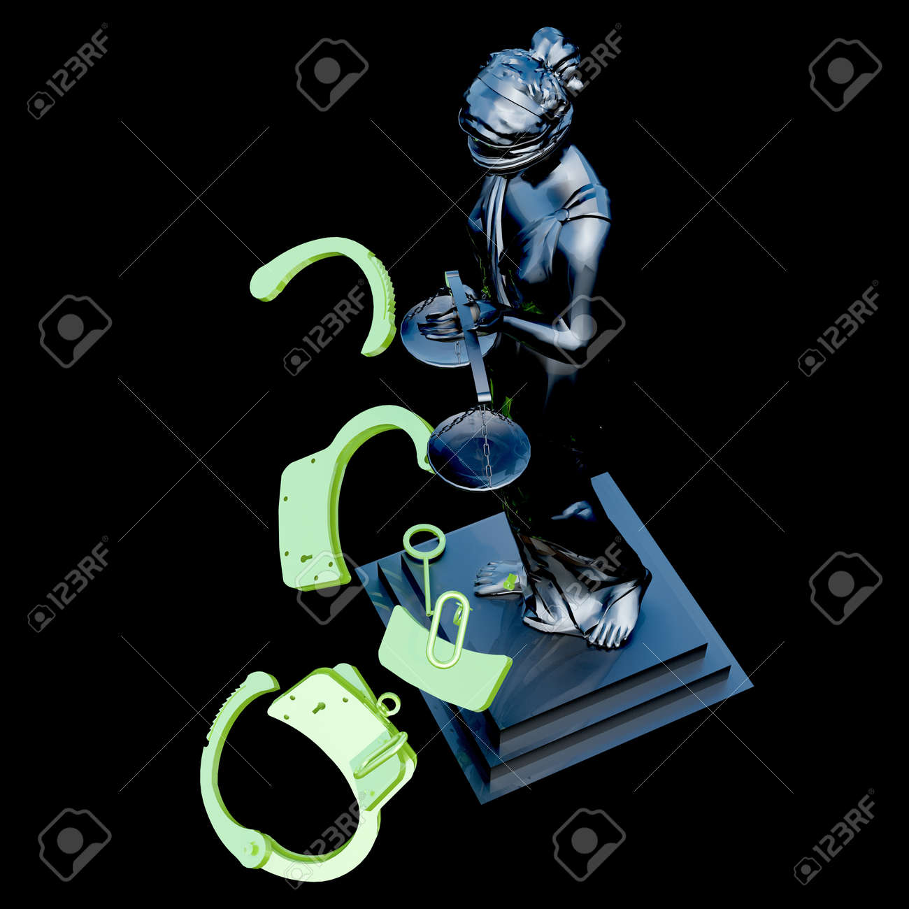 Lady of Justice  statue and handcuffs Stock Photo - 23332516