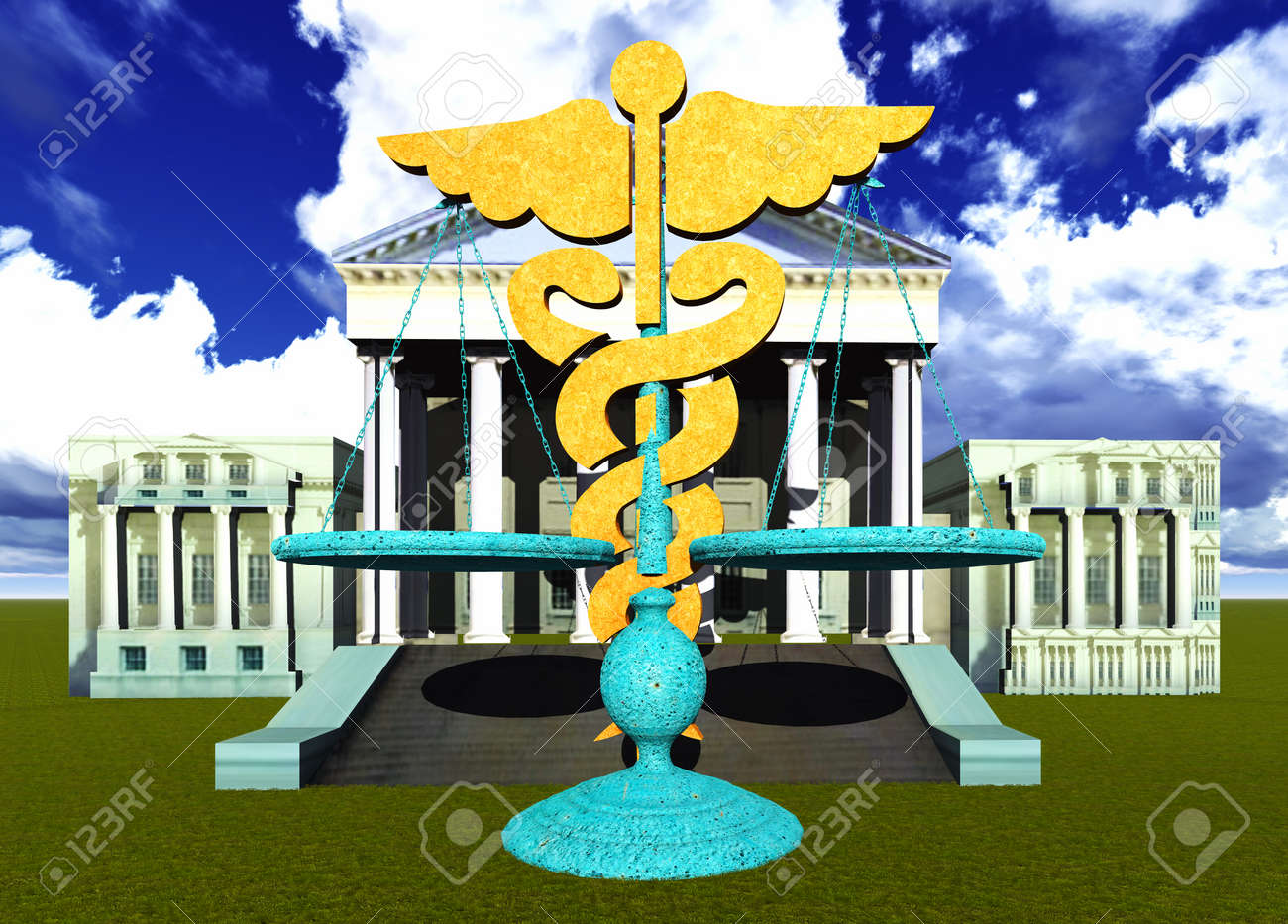 Scales Of Justice And Medical Symbol Stock Photo Picture And