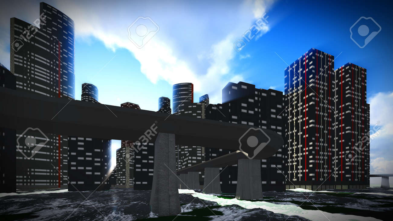 tsunami devastating the city stock photo picture and royalty free