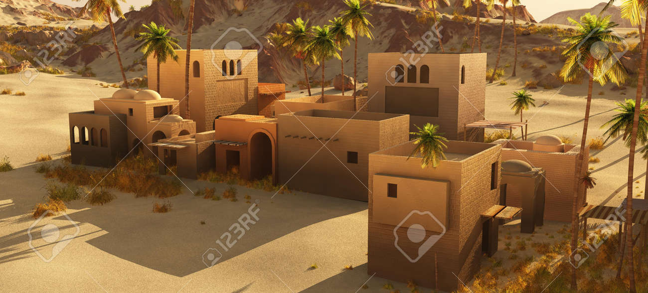 Beautiful natural background -African oasis 3d rendering - 151063775