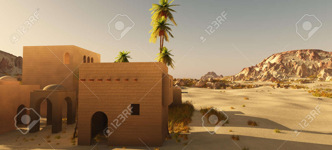 Beautiful natural background -African oasis 3d rendering - 151064301