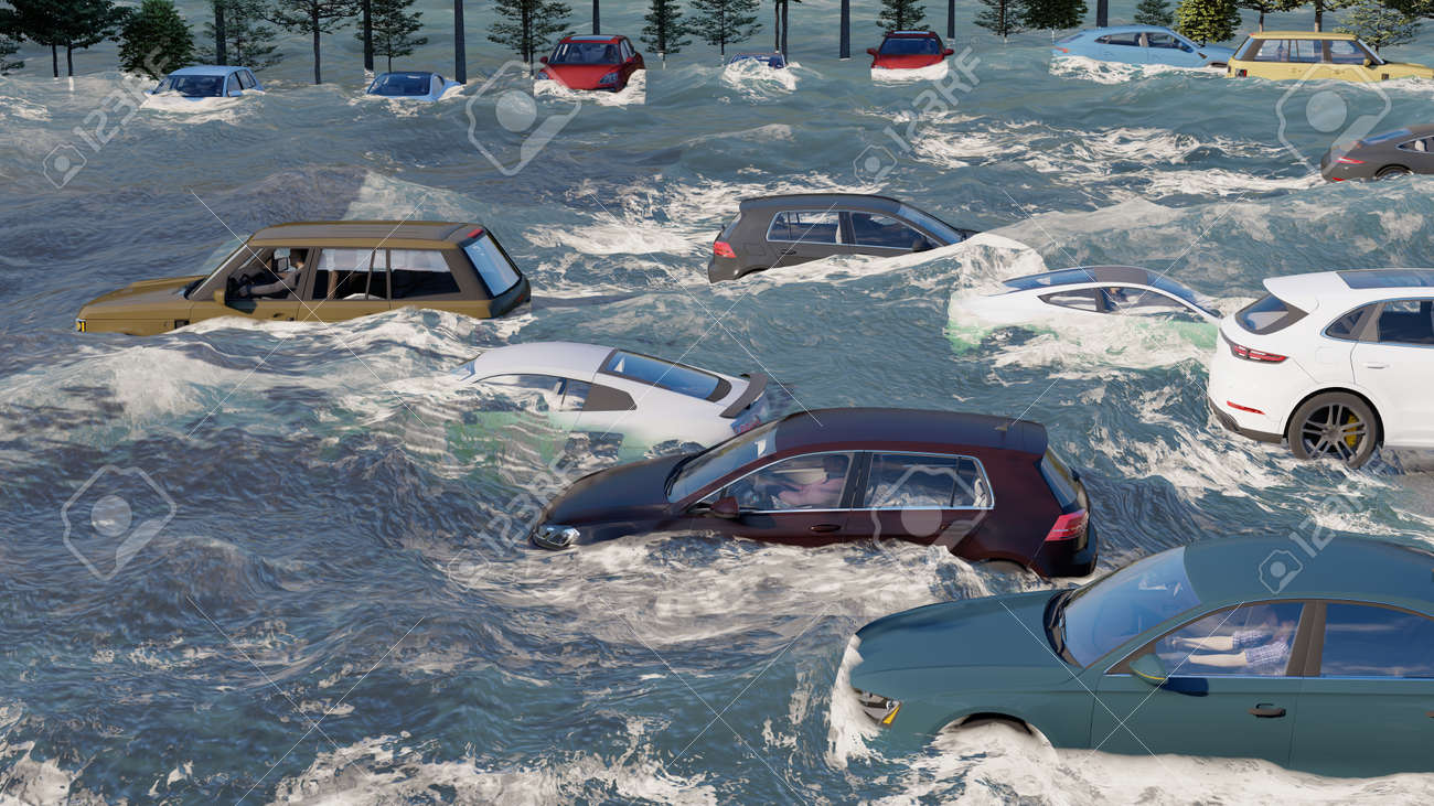 flooded road during a flood caused by heavy rain 3d rendering - 151566016