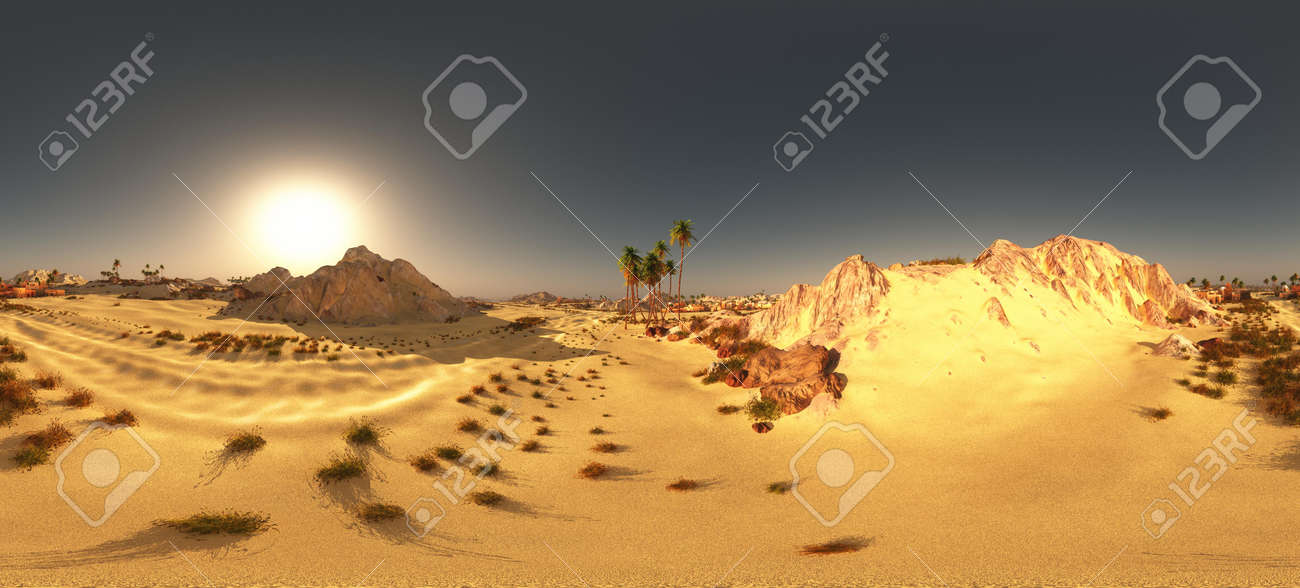 Arabic small town on desert in 360 panorama 3d rendering - 151548858