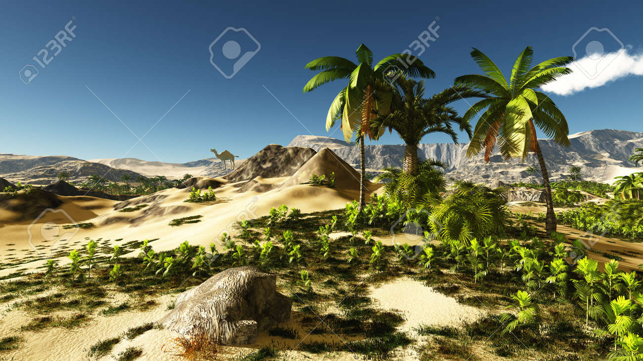 Beautiful natural background -African oasis 3d rendering - 151530387