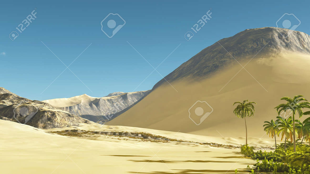 Beautiful natural background -African oasis 3d rendering - 151577159